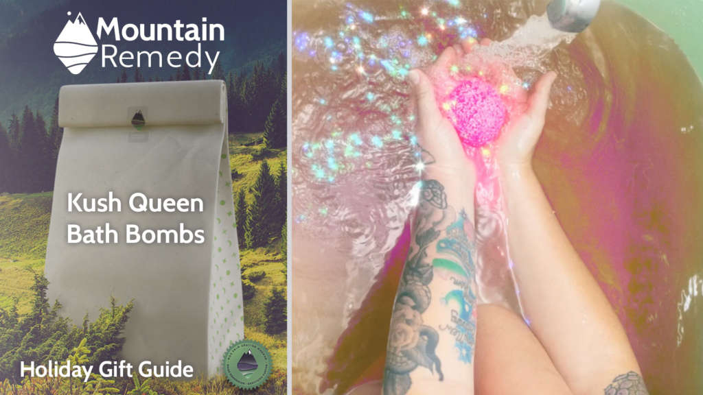 Kush Queen Cannabis infused bath bombs delivered by Mountain Remedy